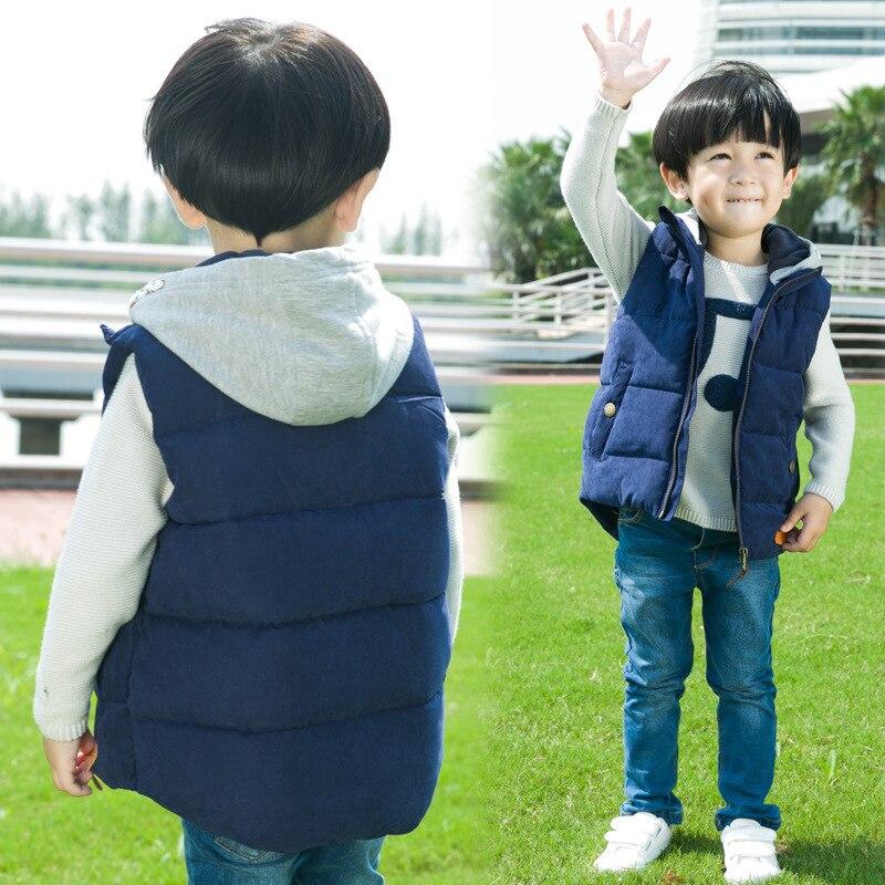 Dzieci Dzieci Zagęszczony termiczny chłopców Kamizelka z kapturem - Ubrania dziecięce - Zdjęcie 4