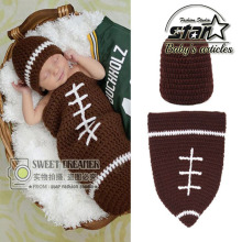 2016 New Arrival Rugby Design Knitted for 0~12 Months Babies Newborn Boys Girls Hats Sets Kids Baby Clothing Set(China)