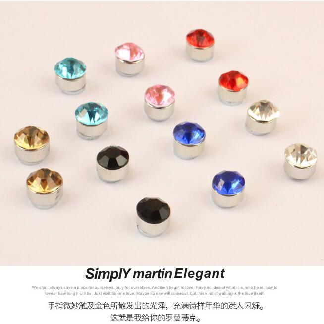 a03627a590964 US $0.69 7% OFF|2pcs Titanium Steel Mens Women Trendy Round Magnetic Clip  crystal Stud Earrings Magnet Magnetic Earrings Magic Unisex Lovers ear-in  ...