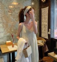 2019 Summer Korean Style Women's Dress Floral Printed Spaghetti Strap Long Chiffon Dress With Neck Belt