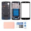 Для LG Nexus 5 D820 Батарея Дверь Корпуса Задняя Крышка С NFC + Передняя Экран Стеклянный Объектив + Ближнем Рама + Клей + инструменты, бесплатная Доставка