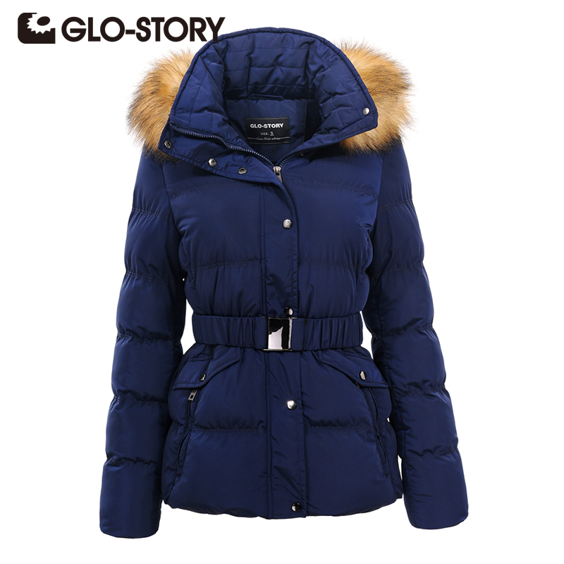 GLO-STORY Women Winter Warm Coat 2017 New Hooded Fur Collar Thick Jacket Female Fashion Slim High Quality Outerwear Parkas 4720 women winter coat leisure big yards hooded fur collar jacket thick warm cotton parkas new style female students overcoat ok238
