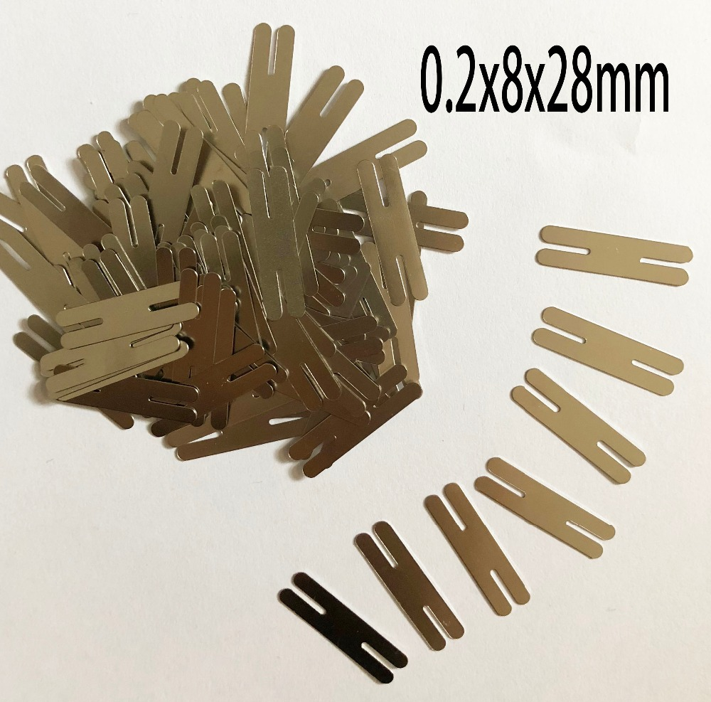 100pcs/lot 0.2x28x8mm H Type Nickel Plated Steel Strap Strip Sheets For 2P 18650 Power Battery Pack Spot Welding Spot Welder