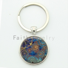 Steampunk Blue Mandala Key Chain Men & Women Accessories Jewelry Moroccan Design Glass Dome Alloy Keychain Gift KC199