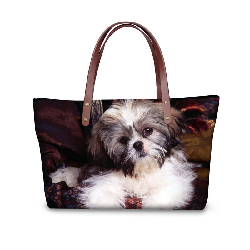 Cute Animal Shih Tzu Prints Women Messenger Bags Famous Designer Tote Cross Body Bag for Ladies Big Top-handle Bags