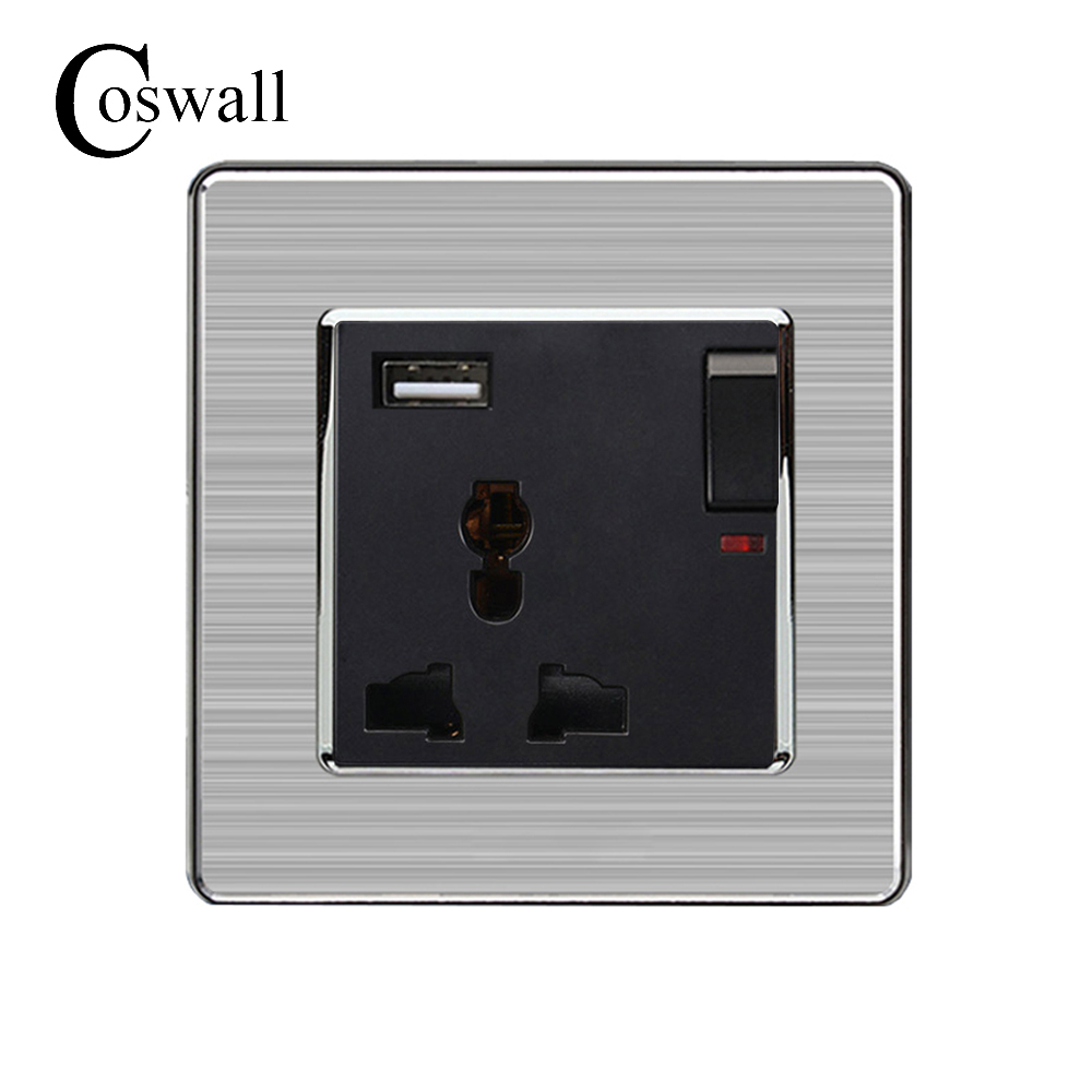 Coswall 3 Hole Universal Socket Switched With Neon + USB Charge Port For Mobile Output 5V 2.1A Stainless Steel Panel coswall wall socket uk standard power outlet switched with dual usb charge port for mobile 5v 2 1a output stainless steel panel