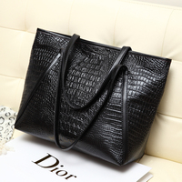 2016 New High Quality Leather Crocodile Pattern Handbags Women Fashion 4 Colors Shoulder Bags Easy Matching