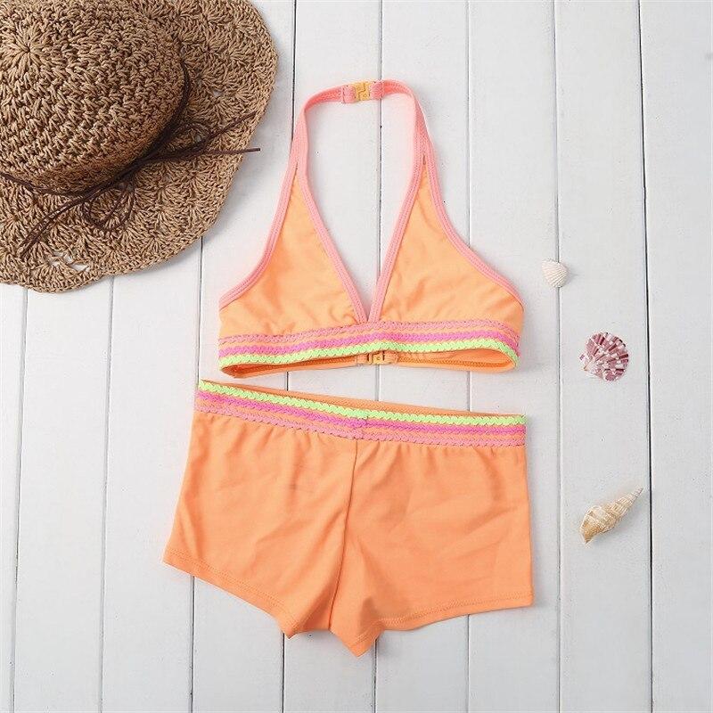 Funfeliz От 3 до 12 лет одежда для купания для девочек Симпатичные Gilrs качества бикини ...