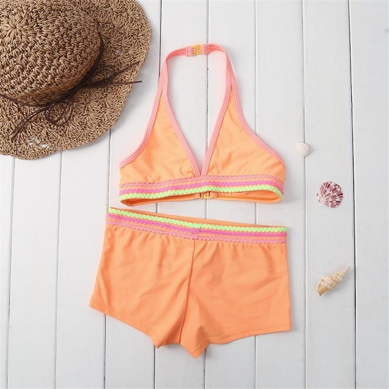 Funfeliz 3-12 Years Girl swimwear Cute Gilrs Bikini Quality Two pieces Swimwear for Children Pool Beach Kids Swimming Suits