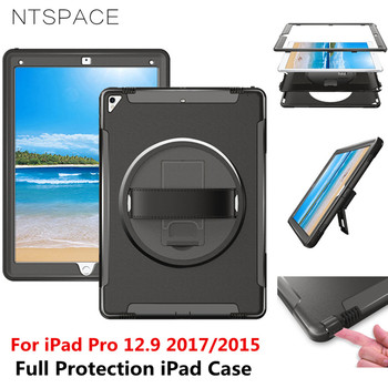 NTSPACE Tablet Hand Strap Case For Apple iPad Pro 12.9 inch 2017 2015 Heavy Duty Kickstand Holder Cover Shockproof Armor Case wes armor dual layer heavy duty protection back kickstand case kids safe cover for apple ipad air 2 for new ipad pro 9 7 inch