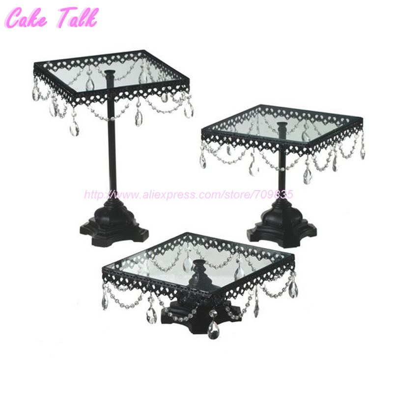 Crystal pendant cake stand Black Square glass cake stand fondant cakes display tray wedding table decoration