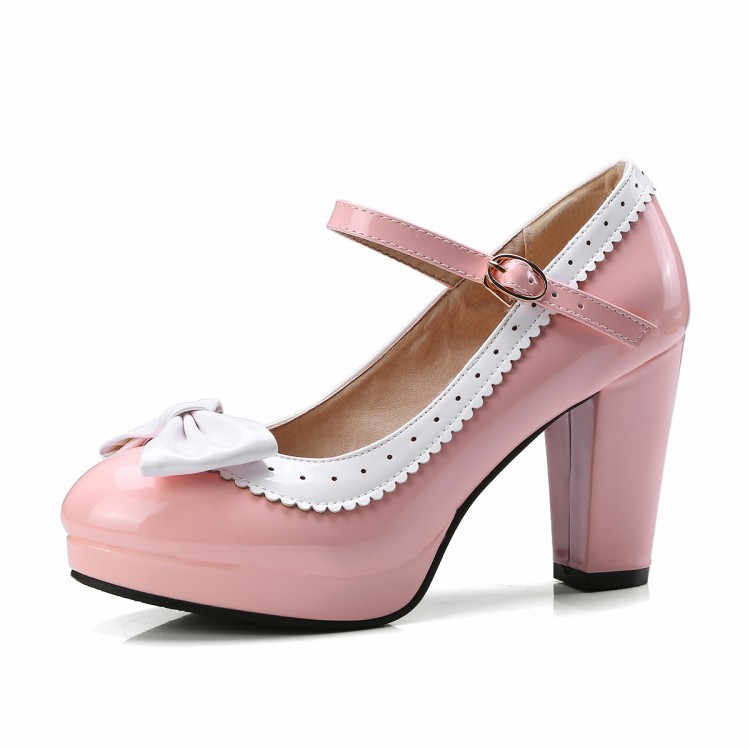 ... PXELENA Plus Size 34-43 Lolita Mary Janes Women High Heels Shoes Sweet  Bowknot Ruffles ... f9029a105565