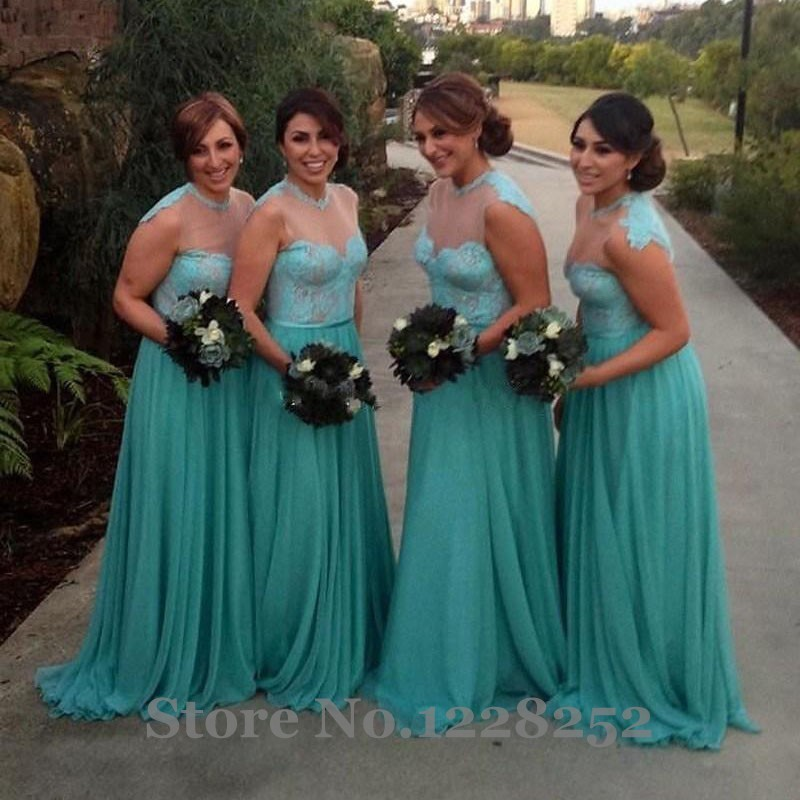20434c9a7013 Hot Turquoise Chiffon Lace Plus Size Bridesmaid Dresses Illusion High Neck  Long Wedding Formal Party Dress Maid of Honor Dress