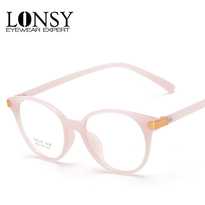 lonsy vintage tr90 round pink glasses frame women fashion brand designer optical eyeglasses cj1638