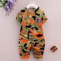 Baby boy одежда камуфляж наборы 2 шт. с коротким рукавом футболка + короткие брюки детские мальчик одежда причинно спорт костюмы