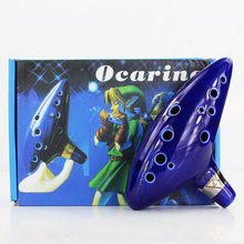 Blue 12 Holes Ocarina Kiln-fired Ceramic Alto C Legend of Zelda Flute Ocarina of Time in Box Woodwind Instruments figure toys