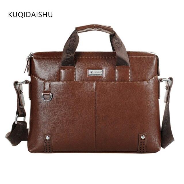 7b64f49cf5d KUQIDAISHU Merk Man Business Lederen Aktetas Hoge Kwaliteit 14 inch Laptop  Tassen Kantoor Tas Voor Mannen