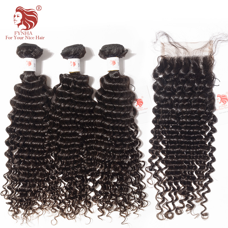 [FYNHA] Brazilian Kinky Curly Virgin Hair Weave 3 Bundles With Lace Closure Human Hair Extensions