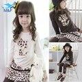 Hot! 2016 Fashion Leopard Girl Children's Clothing Sets Cotton Spring-autumn Kids T-shirt+Shirt+Pants Girls Baby Dress