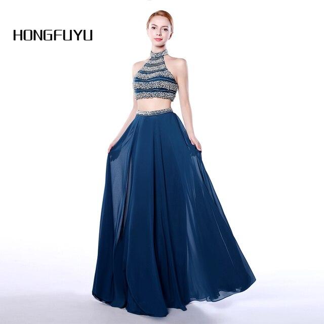 Aliexpress.com : Buy Fashion Chiffon Halter A Line 2 Piece Long Prom ...