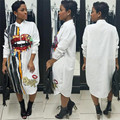 Langarm Shirt Kleid Frauen Herbst Mode Stehen Kragen Button up Bluse Kleid Damen Streetwear Übergroßen Pailletten Hemd Kleid-in Kleider aus Damenbekleidung bei