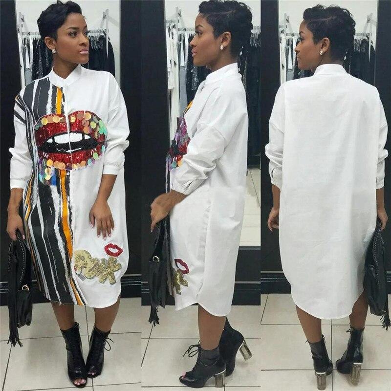 Long Sleeve Shirt Dress Women Autumn Fashion Stand Collar Button Up Blouse Dress Ladies Streetwear Oversized Sequin Shirt Dress