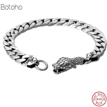 Punk Statement Animal Bracelet 925 Sterling Silver Christmas Gifts Snake head chain S925 Solid Thai Silver Bracelet Men Jewelry
