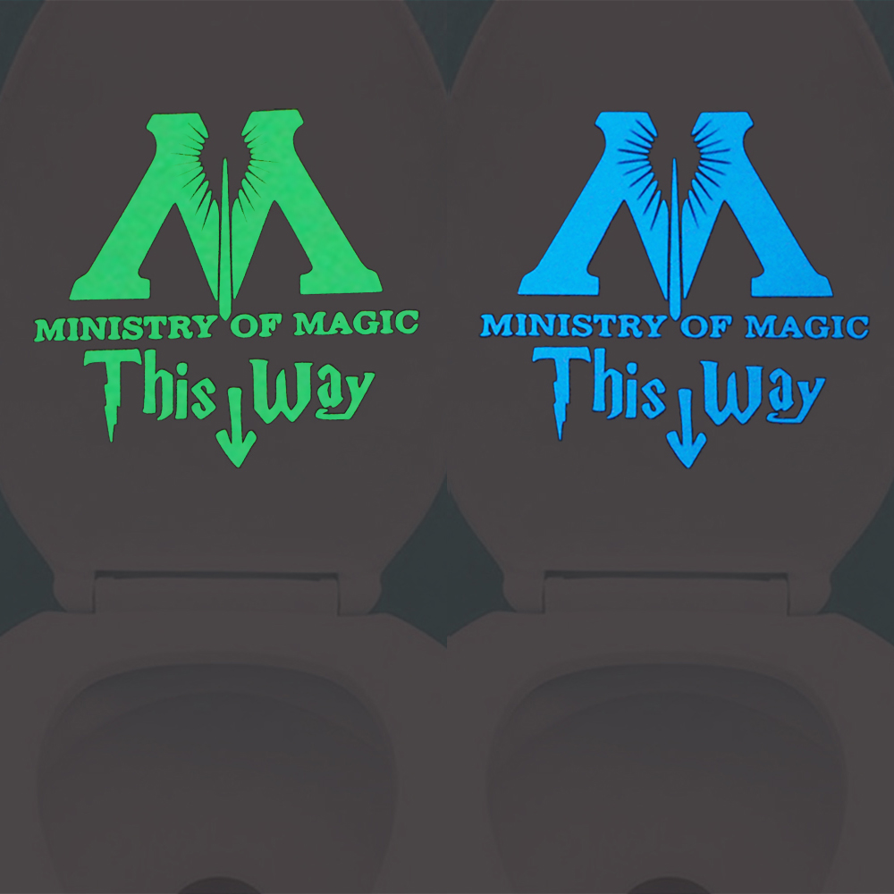 MInistry of Magic This Way Glow in the Dark Toilet Sticker Decal Home Decor Luminous Wall Sticker Bathroom Door Washroom DIY
