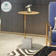 Луи Мода журнальные столики Простой Мраморный скандинавский гостиной диван современный креативный Железный арт золотой современный