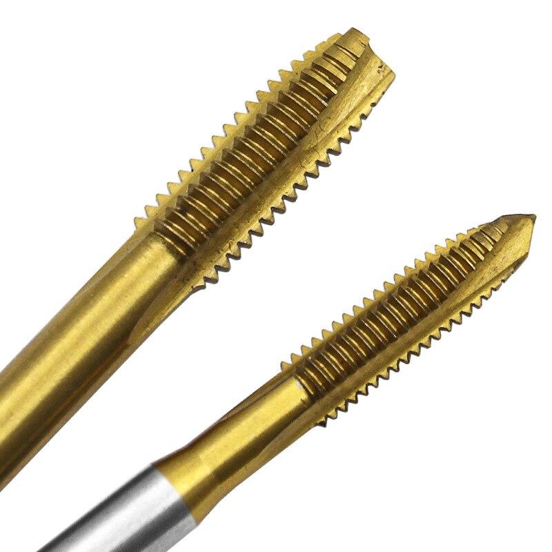 Color: M3 Hand Tools 5Pcs Titanium Electroplating Hss Machine Screw Tap M3 M4 M5 M6 M8 Spiral Pointed Taps Diy Tool