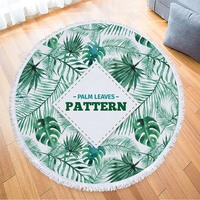 Tropical Forest Plant Large Microfiber Round Beach Towel with Tassel Mandala Bath Towel Camping Yoga Mat Toalha STJ 11