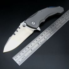 New Arrival Praetorian 2 Folding Knife Ball Bearing D2 Blade Titanium Handle Camping Survival Tools Pocket Hunting Knife