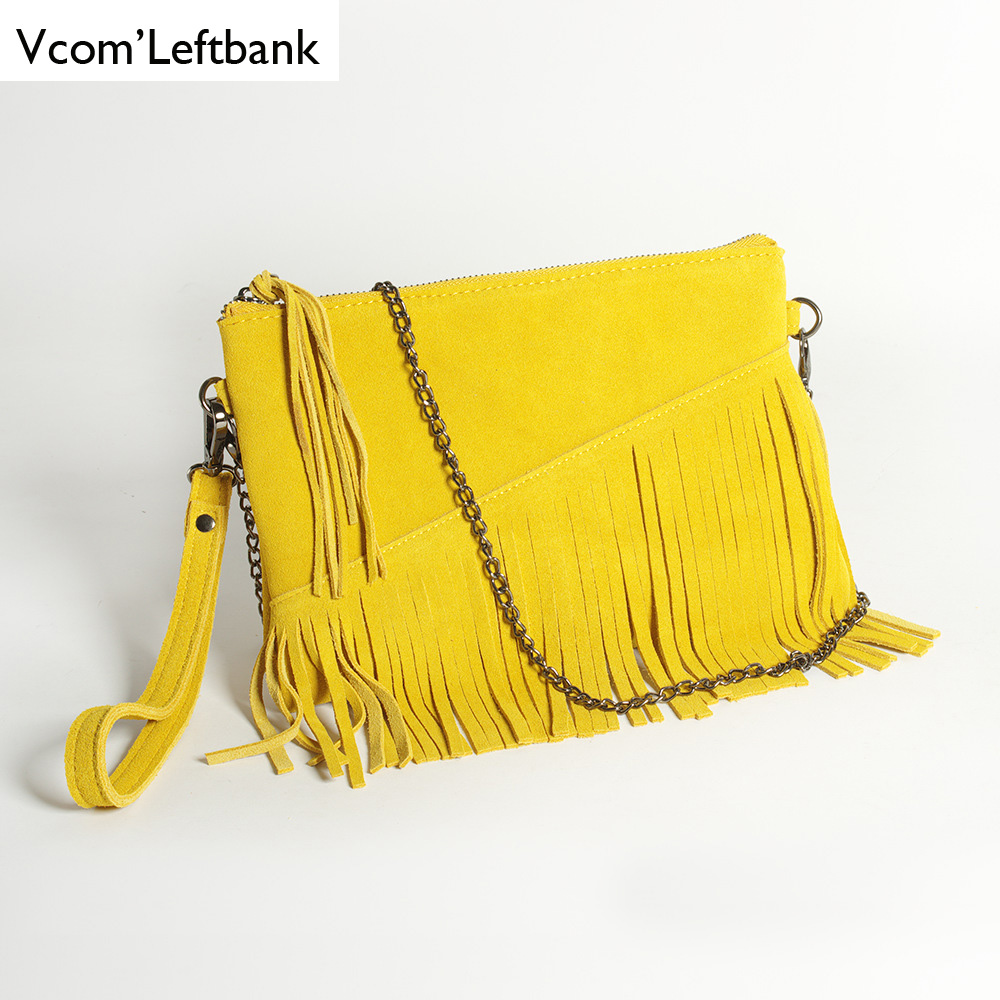 2019 Real Leather Wrist Bag Causal Summer Shoulder Bag For Women Suede Tassel Fringe Chain Clutch Yellow Ladies  Hand Bag Small