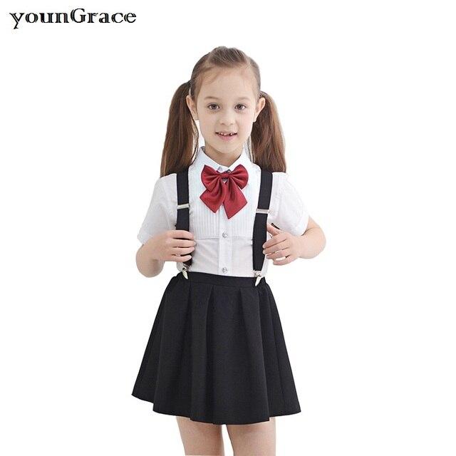 2016 New Arrival Girls Summer Wedding Skirt & Shirts Set with Bowtie Brand Formal Young Girls School Uniform Children Suit, C213