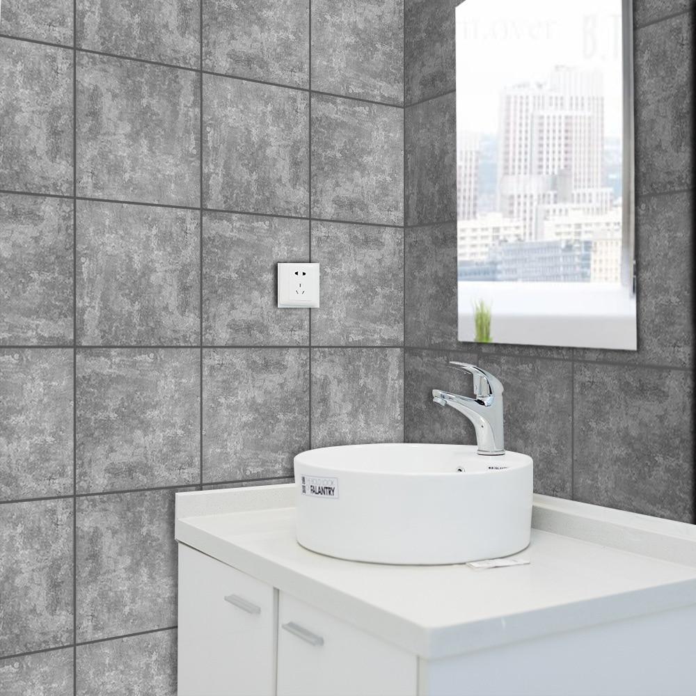 € 6.75 29% de réduction|Funlife gris marbre bricolage carrelage  décalcomanie, brique de ciment imperméable mur autocollant pour salon  cuisine salle de ...