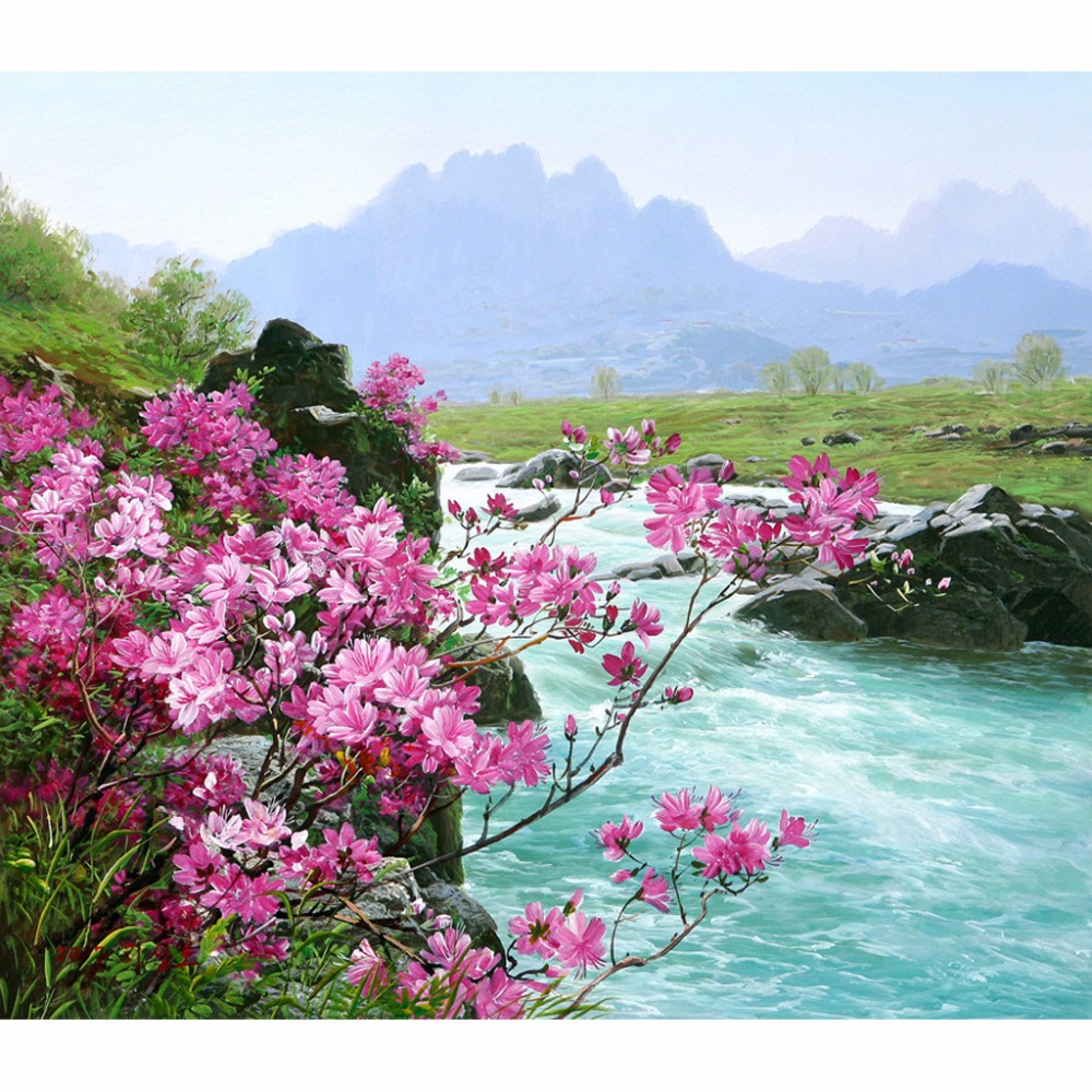 Bezrámová řeka Krajina DIY digitální obraz podle čísel Sady Ručně malovaný olej Unikátní dárek pro dekorace v obývacím pokoji