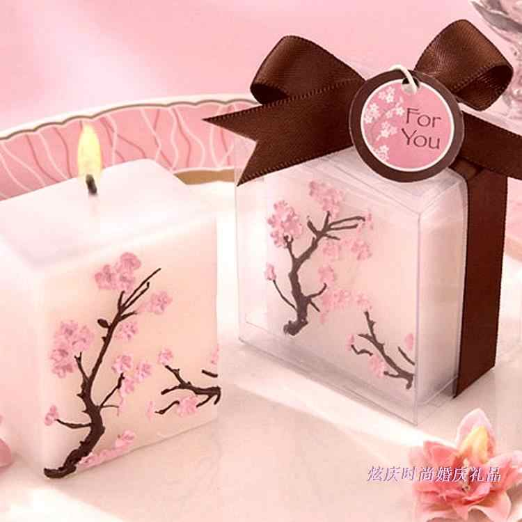 Home Decor Candles Simulation Creative Birthday Colorful Cherry Blossoms Wedding Gifts flowers Candle 2pc/LOT