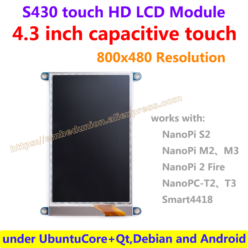 4 3 inch capacitive touch HD LCD S430 480 x 800 resolution works with 4418 and