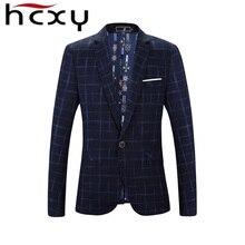 HCXY клетчатый блейзер мужской костюм Homme Пальто Блейзер masculino брендовая одежда Мода 2017 г. мужчин Блейзер костюм Куртка Jaqueta