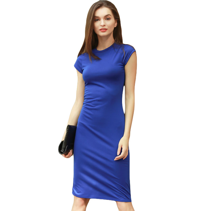 263a581b517 Detail Feedback Questions about 2019 Fashion Women T Shirt Dress Solid Summer  Short Sleeve Pencil Office Dress Knee Length Work Bodycon Party Dresse Plus  ...