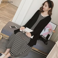 2018 New Spring Maternity Striped Dress And Black Cardigan Coat Sets Pregnant Vestidos Clothing For Pregnancy