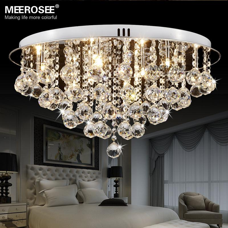 Round Crystal Ceiling Light Fitting G4 Surfase Mounted Res De Cristal Lighting For Hallway Lamparas Techo Home In Lights From