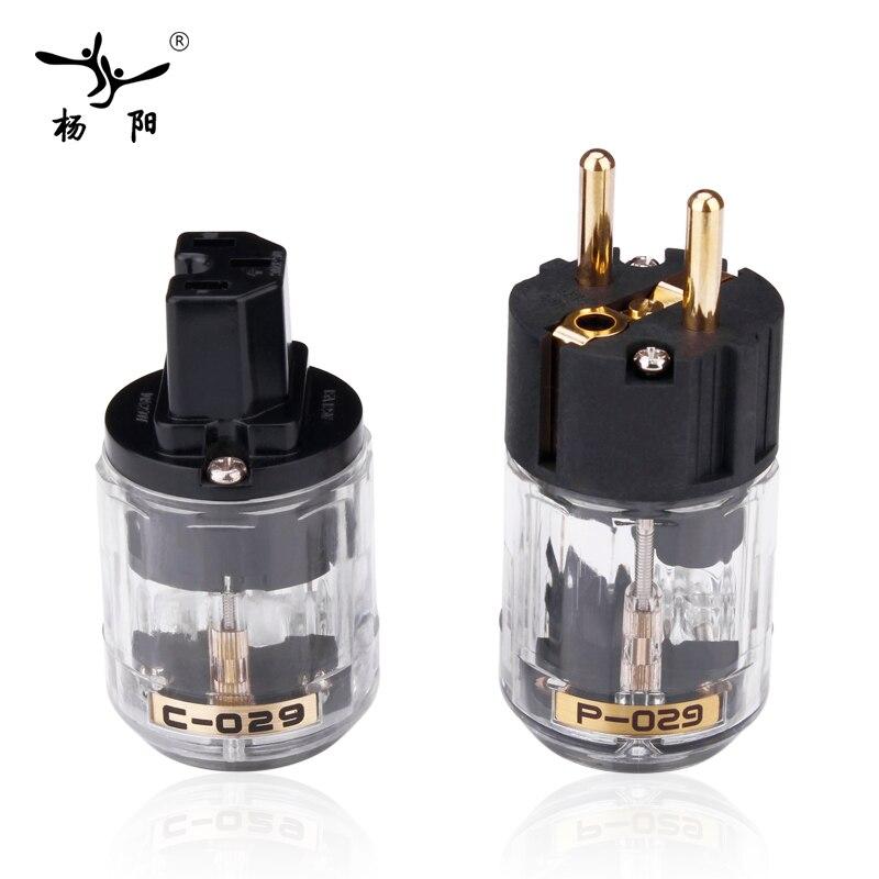 YYAUDIO Hifi Power Plug High Quality Gold-plated One Pair Eu Power Connector + IEC Female Connector