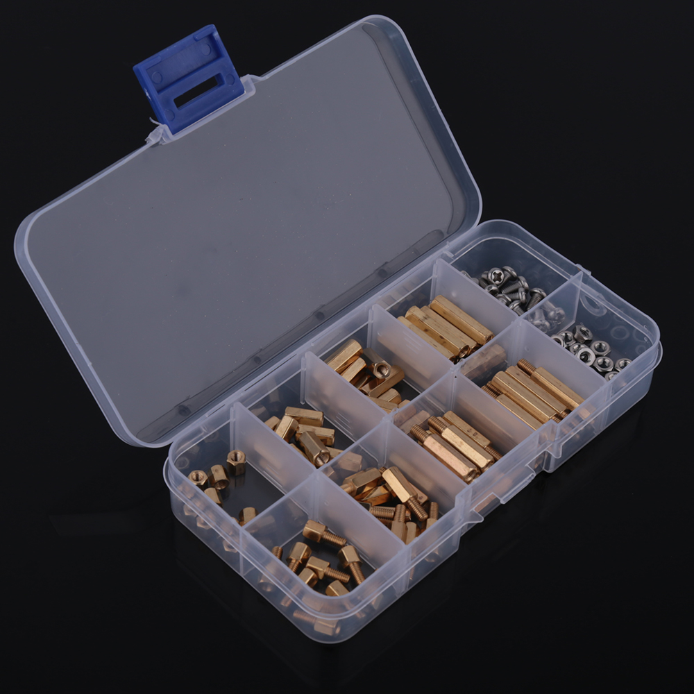 120Pcs Brass Golden M3 Screw Standoff/Spacer Brass Hex Stand-Off Pillars DIY Set Threaded Type B