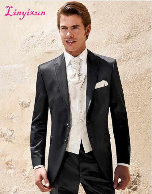 Linyixun 2017 mejor venta hecho a medida hombres boda/vestidos de graduación novio esmoquin traje