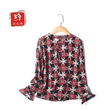 In early spring the new European and American wind 2017 ms mulberry silk printed pure silk shirt long sleeve head round collar D