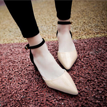 2017 New Arrival Summer Women Thick Mid Heel Pointed Toe Ankle Wrap Fashion Casual Sandals Shoes Plus Size 34-43 SXQ0612 size 30 43 woman ankle strap high heel sandals new arrival hot sale fashion office summer women casual women shoes p19266