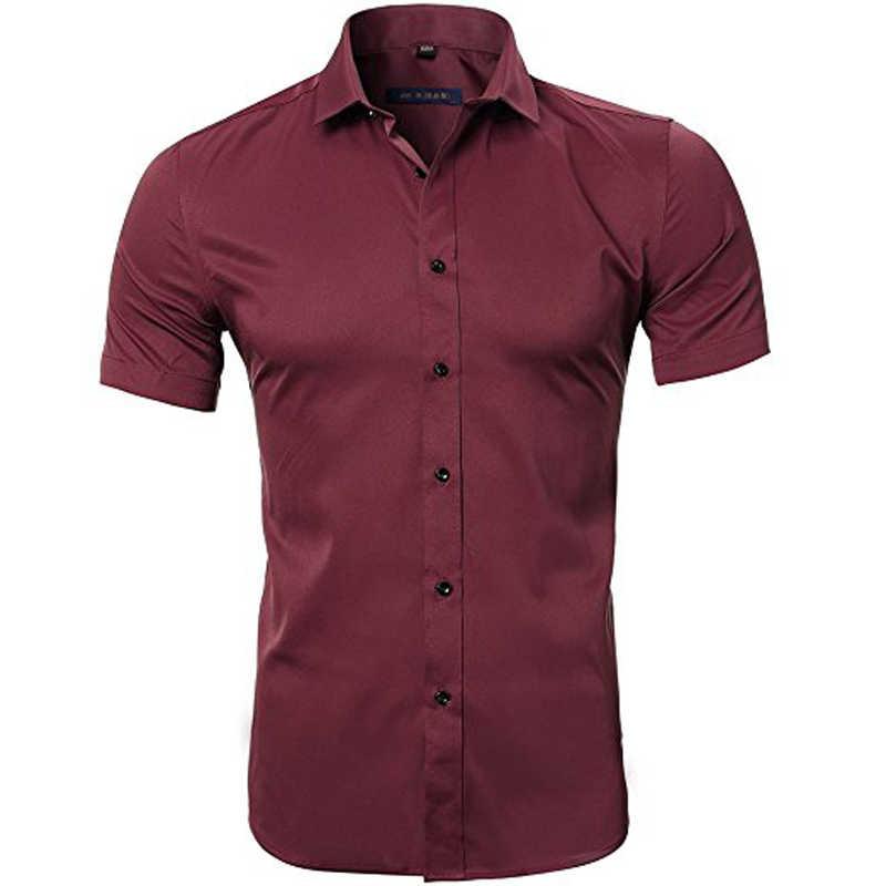 ブルー竹繊維シャツ男性 2018 夏半袖メンズドレスシャツカジュアルスリムフィット簡単ケア固体非鉄シュミーズオム