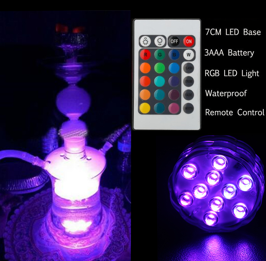 LED Submersible Candle Remote Control Floral Tea Light Candle Flashing Waterproof Wedding Party Decoration Hookah Shisha