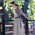 2017 Summer Sleeveless Long Dress With Belt Bow Elastic Waist Linen Cotton Material Vintage Style Onepiece Dresses